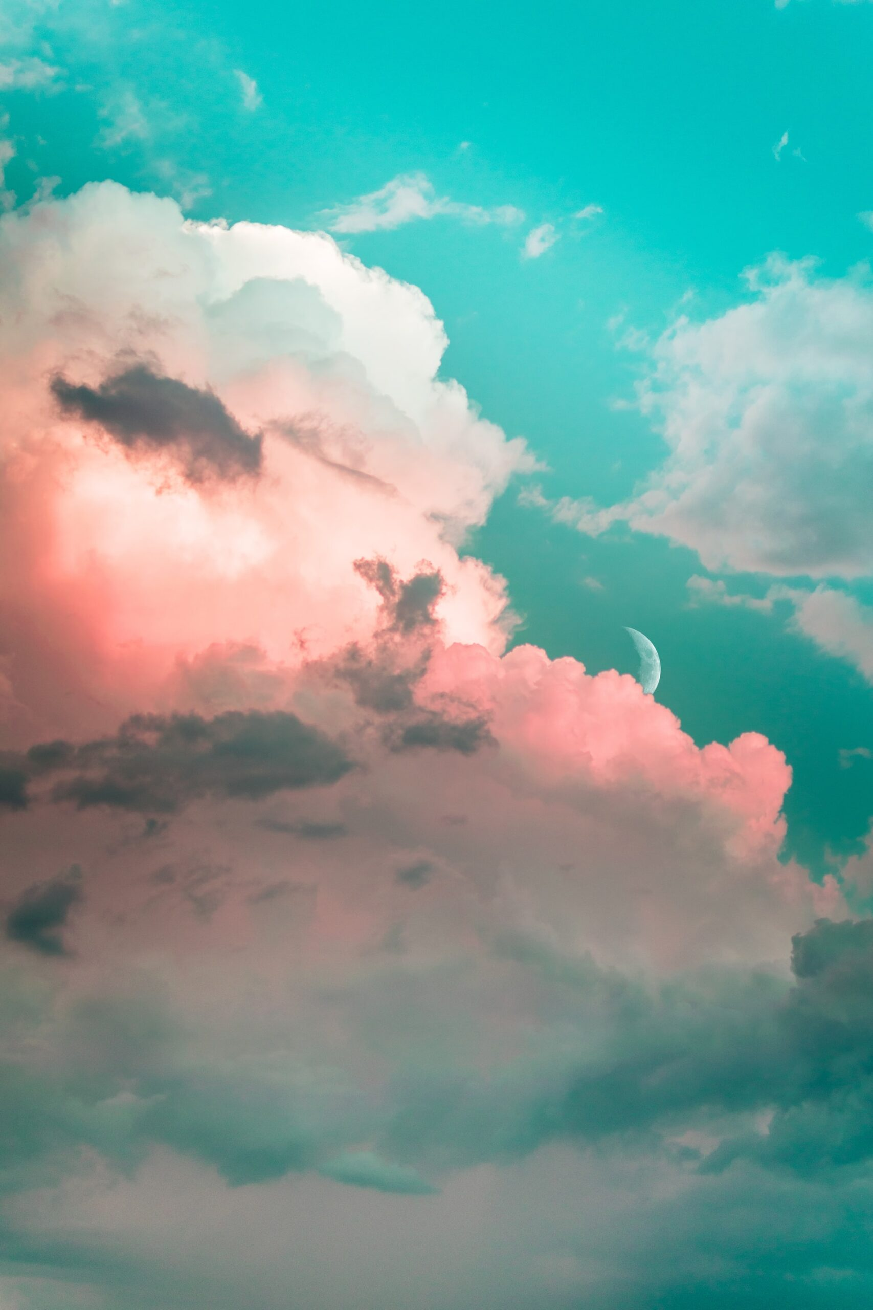 Pink clouds and blue sky